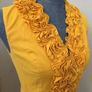 ☀️ Cache 4 Yellow Ruffles Pleats Belt Linen Lined